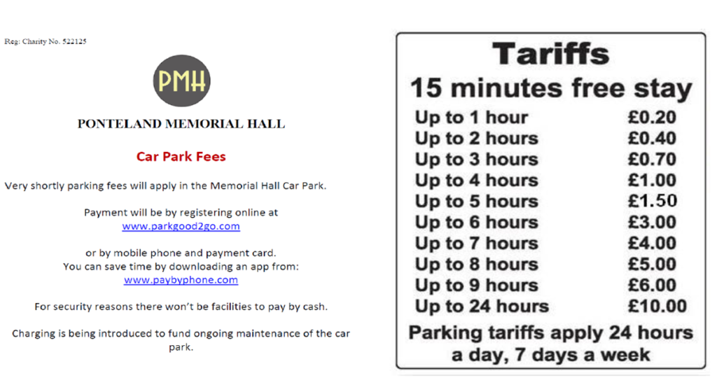 Ponteland Memorial Hall Parking Charges